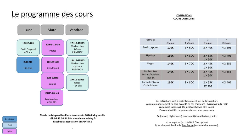 planning et tarif stepdance au 10 10 2017